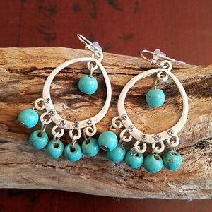 Jewelry - BEAUTIFUL BOHO SILVER & TURQUOISE DANGLE EARRINGS